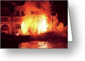 Explosion Photo Greeting Cards - City - Vegas - Treasure Island - Explosion Abandon ship Greeting Card by Mike Savad
