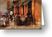 Waiter Greeting Cards - City - Venetian - Dining at the Palazzo Greeting Card by Mike Savad