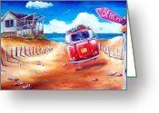 Campervan Greeting Cards - City 2 Surf Greeting Card by Deb Broughton