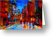 Hockey On The Streets Of Montreal Greeting Cards - City After The Rain Greeting Card by Carole Spandau