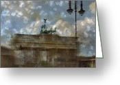 Historic Landmark Greeting Cards - City-Art BERLIN Brandenburger Tor II Greeting Card by Melanie Viola