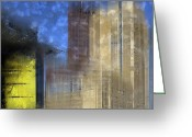 Window Art Digital Art Greeting Cards - City-Art BERLIN Potsdamer Platz I Greeting Card by Melanie Viola