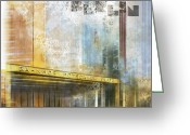Stripes Greeting Cards - City-Art BERLIN Potsdamer Platz Greeting Card by Melanie Viola