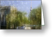 Stripes Greeting Cards - City-Art BERLIN River Spree Greeting Card by Melanie Viola