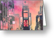 Traffic Light Greeting Cards - City-Art NY Times Square Greeting Card by Melanie Viola
