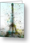 Montage Greeting Cards - City-Art PARIS Eiffel Tower II Greeting Card by Melanie Viola