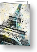 Brush Greeting Cards - City-Art PARIS Eiffel Tower IV Greeting Card by Melanie Viola