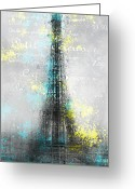 Upright Greeting Cards - City-Art PARIS Eiffel Tower LETTERS Greeting Card by Melanie Viola