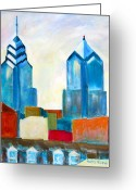 Center City Painting Greeting Cards - City Blocks Greeting Card by Marita McVeigh