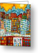 Skylines Painting Greeting Cards - City Bones Greeting Card by Karl Haglund