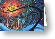 Whimsical Tree Greeting Cards - City by the Sea by MADART Greeting Card by Megan Duncanson