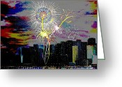 4th July Greeting Cards - City Celebration digital Greeting Card by Mark Moore