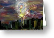 4th July Digital Art Greeting Cards - City Celebration part 1  Greeting Card by Mark Moore
