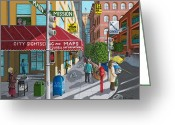 Store Fronts Greeting Cards - City Corner Greeting Card by Katherine Young-Beck