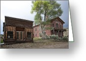 Tumbleweed Greeting Cards - CITY DRUG STORE and HOTEL MEADE - BANNACK MONTANA GHOST TOWN Greeting Card by Daniel Hagerman