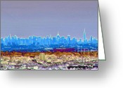 Hustle Bustle Greeting Cards - City Electric Greeting Card by Michelle Milano