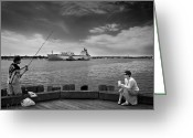 Pier Greeting Cards - City Fishing Greeting Card by Bob Orsillo