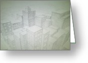 Rooftops Drawings Greeting Cards - City from Above Greeting Card by Kris Halvorson