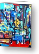 Vibe Painting Greeting Cards - City Got Mojo Greeting Card by David Rogers