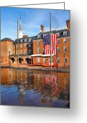 City Hall Greeting Cards - City Hall and Reflections II Greeting Card by Steven Ainsworth