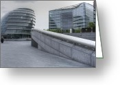 City Hall Greeting Cards - City Hall and the Shard HMS Belfast Thames London Greeting Card by David French