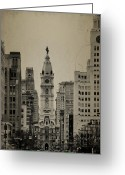 City Hall Greeting Cards - City Hall from North Broad Street Philadelphia Greeting Card by Bill Cannon