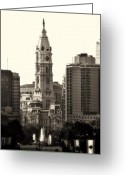 Cityhall Greeting Cards - City Hall from the Parkway - Philadelphia Greeting Card by Bill Cannon