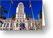 City Hall Greeting Cards - City Hall LA Greeting Card by DJ Florek