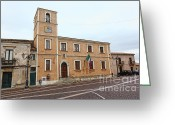 Cityhall Greeting Cards - City Hall Of Santa Severina Greeting Card by Gualtiero Boffi