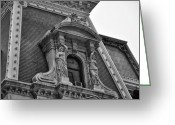 Cityhall Greeting Cards - City Hall Window in Black and White Greeting Card by Bill Cannon