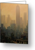 New York City Painting Greeting Cards - City Haze Greeting Card by Tom Shropshire