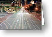City Street Greeting Cards - City Light Trails On Street In Downtown Greeting Card by Eric Lo