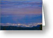 The Lightning Man Greeting Cards - City Lights View from Boulder County Elevation Greeting Card by James Bo Insogna