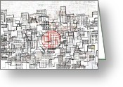Abstract Design Drawings Greeting Cards - City Lines II  Greeting Card by Andy  Mercer