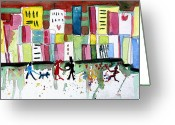 Abstract Design Drawings Greeting Cards - City Love Greeting Card by Mindy Newman