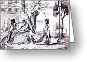 Workers Drawings Greeting Cards - City Maintenance Men  Greeting Card by Bill Joseph  Markowski