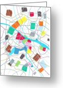 Streets Drawings Greeting Cards - City map Greeting Card by Jeroen Hollander