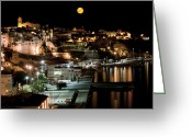 Quite Greeting Cards - City Moon Greeting Card by Pedro Cardona