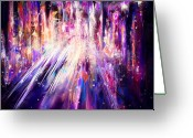 Vision Digital Art Greeting Cards - City Nights City Lights Greeting Card by Rachel Christine Nowicki