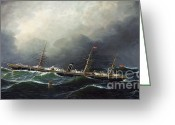 Rough-seas Greeting Cards - City of Berlin on High Seas Greeting Card by Pg Reproductions