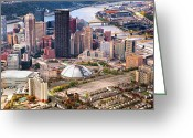 Pittsburgh Skyline Greeting Cards - City of Champions in color Greeting Card by Emmanuel Panagiotakis