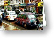 Taxi Cab Greeting Cards - City of Colors Greeting Card by Stefan Kuhn