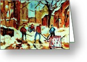 Hockey Street Scenes In Montreal Greeting Cards - City Of Montreal Hockey Our National Pastime Greeting Card by Carole Spandau