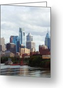 Linda-sannuti Art Greeting Cards - City of Philadelphia Greeting Card by Linda Sannuti