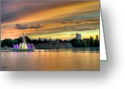 Tonemapped Greeting Cards - City Park Fountain at Sunset Greeting Card by Stephen  Johnson