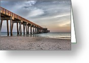Sandy Keeton Greeting Cards - City Pier Greeting Card by Sandy Keeton