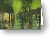 Dusk Pastels Greeting Cards - City Rain 6 Greeting Card by Paul Mitchell