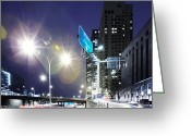 Long Street Greeting Cards - City Scape At Night With Flare Greeting Card by Thomas Northcut