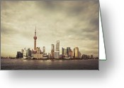 Communications Tower Greeting Cards - City Skyline At Sunset, Shanghai, China Greeting Card by Yiu Yu Hoi