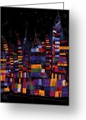 Paul Klee Greeting Cards - City Snow Greeting Card by Russell Pierce